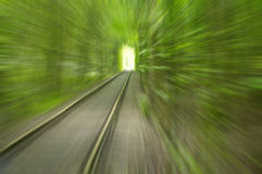 Abstract image of speed motion by rail among trees to the light Royalty Free Stock Photography