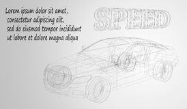Abstract image of a sport car in the form of a black and white drawing, consisting of lines, and shapes. Cars  wireframe con. Eps10. Abstract image of a sport Royalty Free Stock Images