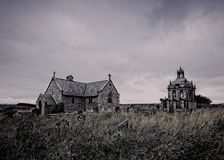 St Andrews Church. Kiln Pit Hill. Northumberland. England,. Abstract image of St Andrews Church and Mausoleum, Kiln Pit Hill, Northumberland, on an overcast stock images