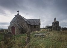 St Andrews Church. Kiln Pit Hill. Northumberland. England,. Abstract image of St Andrews Church and Mausoleum, Kiln Pit Hill, Northumberland, on an overcast royalty free stock image