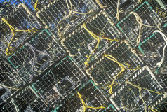 Abstract image of stacks of lobster traps on Mount Desert Island, ME Stock Images