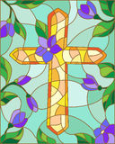 Abstract image in the stained glass style with cross and flowers Stock Image