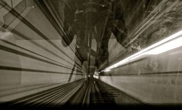 Abstract motion image of a tunnel royalty free stock photos