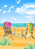 Abstract image of a summer holiday on the beach. Vector Royalty Free Illustration