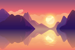 Abstract image of a sunset, the dawn sun over the mountains. At the background and river,lake at the foreground. Mountain landscape. vector illustration royalty free illustration