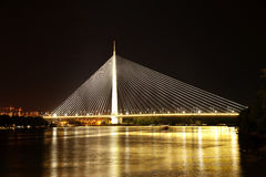 Abstract image - Suspension Bridge night lights. Stock Images