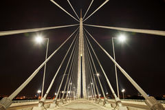 Abstract image -Suspension Bridge night lights Royalty Free Stock Image