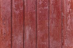 Simple photo background pattern of red wooden planks. Abstract image texture for designers with red panels. Surface with cracks and corrosion. Vertical top face royalty free stock image