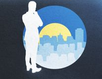 Research concept. Abstract image of thoughtful man silhouette next to round banner with city and sun. Research concept Royalty Free Stock Images