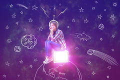 Imagination concept. Abstract image of thoughtful young woman sitting on glowing box placed on abstract drawn planet in space. Imagination concept royalty free stock photo