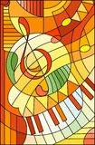 Stained glass illustration Abstract image of a treble clef in stained glass style ,in yellow orange tones. Abstract image of a treble clef in stained glass style vector illustration