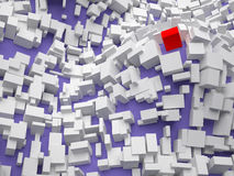 Abstract Image of Unique Person. 3D rendering of abstract background made of white cubes over blue Royalty Free Stock Images