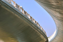 Abstract image of viaduct bridge. Construction and structure of fly-over crossing bridge, and curve extending from view point under bridge, shown as construction Stock Photo