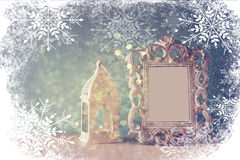 Abstract image of vintage antique classical frame and old lantern Royalty Free Stock Photo