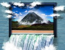 Abstract image of volcano on tropical island in frame Stock Photos