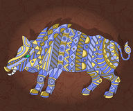 Abstract image of a wild boar. Illustration with abstract wild pig on a dark floral background Royalty Free Stock Photo