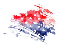 Abstract USA flag. Abstract imitation of watercolor grunge flag of USA. Template for your holiday designs Royalty Free Stock Photos