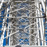 Abstract impression due to the confusing supports, struts and slats on the mount of a Ferris wheel. Germany royalty free stock images