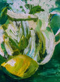 Abstract, impressionistic oil painting of a lemon with glass jug Stock Images