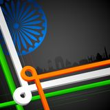 Abstract India. Illustration of Indian cityscape with tricolor strip Stock Illustration