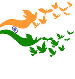 Abstract India flag with flying pigeon Royalty Free Stock Photo