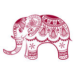 Abstract Indian elephant. Carved elephant. Stylized fantasy patterned elephant. Hand drawn vector illustration with traditional oriental floral elements Royalty Free Stock Images