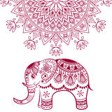 Abstract Indian elephant with mandala Royalty Free Stock Images
