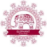 Abstract Indian elephant with mandala. Royalty Free Stock Photo