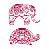 Abstract Indian elephant with turtle. Carved elephant and turtle. Stylized fantasy patterned elephant and turtle. Hand drawn vector illustration with Royalty Free Stock Image
