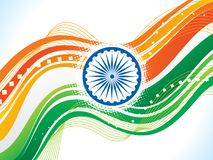 Abstract indian flag wave background. Vector illustration Stock Photography