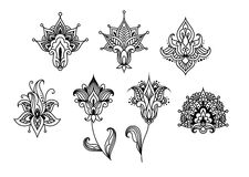 Abstract indian paisley floral design elements Royalty Free Stock Images
