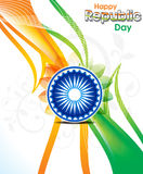 Abstract indian republic day wave background with floral Royalty Free Stock Photos