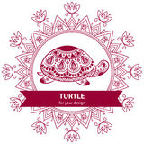 Abstract Indian turtle with mandala. Royalty Free Stock Photos