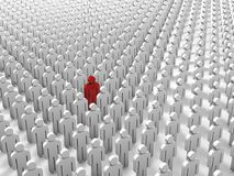 Abstract individuality, uniqueness and leadership business concept: single red 3D people figure in crowded group of white figures. Abstract individuality stock illustration