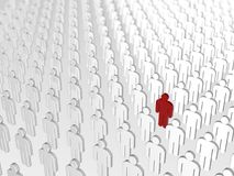 Abstract individuality, uniqueness and leadership business concept: single red 3D people figure in crowded group of white figures. Abstract individuality royalty free illustration