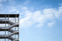 Abstract industrial architecture fragment on blue sky Royalty Free Stock Images