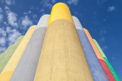 Abstract industrial architecture fragment, colorful tanks Stock Image