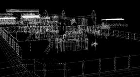 Abstract industrial archticture. Wire-frame render on black background Stock Image