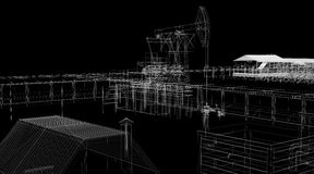 Abstract industrial archticture. Wire-frame render on black background Stock Photos