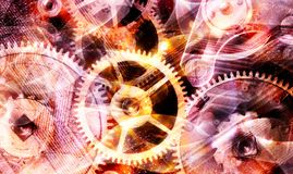 Industrial yellow and lilac background with gears royalty free stock photos