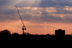 Abstract Industrial Background. With a hoisting crane with pink sunset stock photo