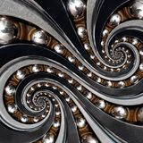 Abstract industrial ball bearing spiral background fractal. Double spiral repetitive pattern with metal balls, distorted bearing r. Ings. Grey brown surreal stock photo