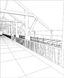Abstract industrial building constructions indoor. Tracing illustration of 3d Stock Images