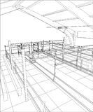 Abstract industrial building constructions indoor. Tracing illustration of 3d Stock Photography