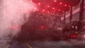 Abstract industrial factory shop with red lights turned on and the smoke, emergency situation. Work shop in unsafe stock video footage