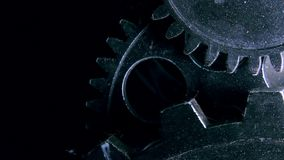Abstract Industrial Grunge Rusty Metallic Clock Gears stock video footage