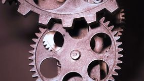 Abstract Industrial Grunge Rusty Metallic Clock Gears stock footage