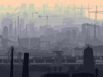 Abstract industrial part of city in the morning. Royalty Free Stock Images