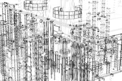 Abstract industrial, technology background. Engineering, factory royalty free illustration