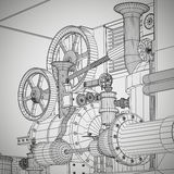Abstract industrial, technology background. Gears outlines Royalty Free Stock Photography
